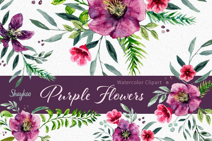 Purple Hellebore Clipart, Watercolor Flowers Clipart, Hand Painted, Purple Flowers, Flower Graphics, Feminine Clipart, Instant Download, PNG