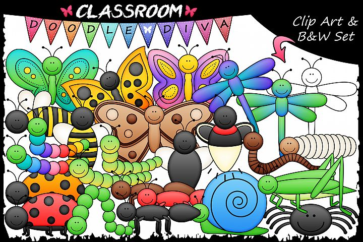Bugs Galore and More - Classroom Doodle Diva Clip Art & B&W Set