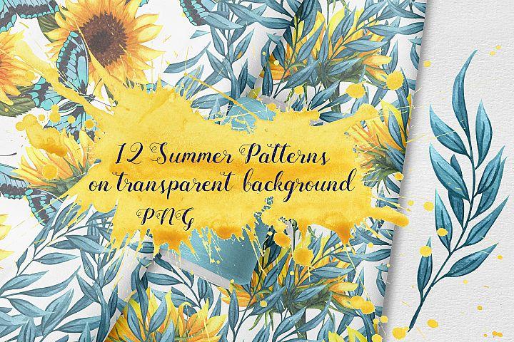 Summer Seamless Patterns PNG,JPG format, 300dpi