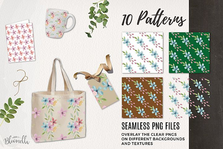 Candy Shop 10 Seamless Patterns Digital Paper Pastels Floral example image 2