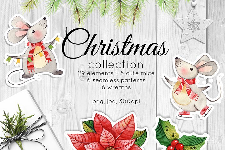 Christmas collection. Watercolor decor and cute cartoon mice
