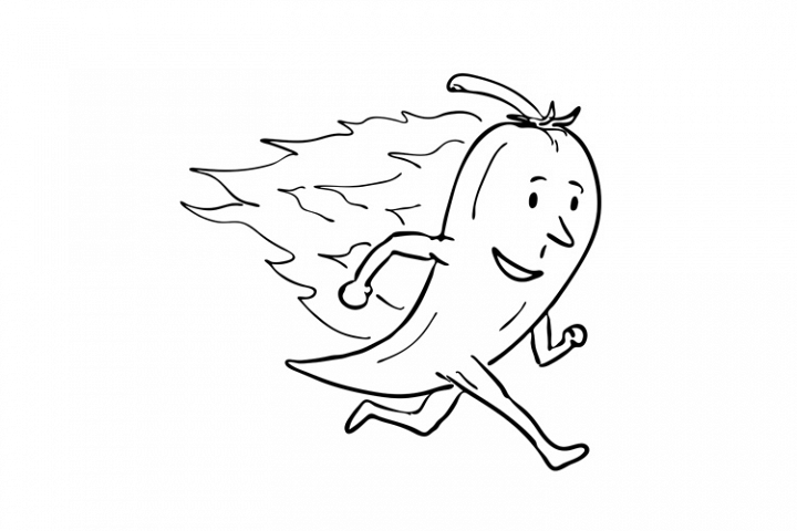 Chilli Pepper on Fire Running Drawing Black and White