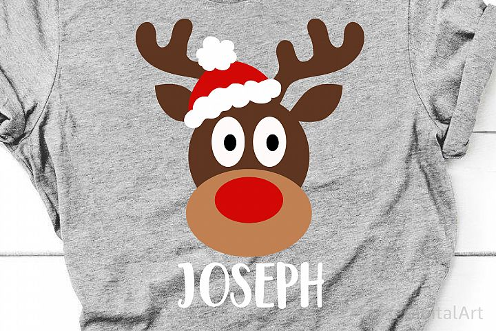 Reindeer Face Svg, Boy Christmas Svg, Reindeer Monogram Svg