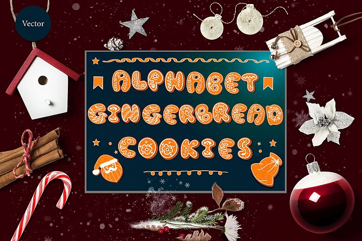 Vector set of 2 gingerbread alphabets. Christmas symbols.