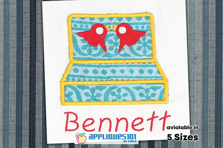 Rings Box Machine Embroidery Applique Design - Boxes