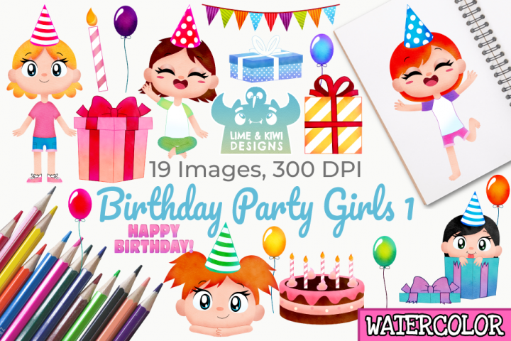 Birthday Party Girls 1 Watercolor Clipart, Instant Download