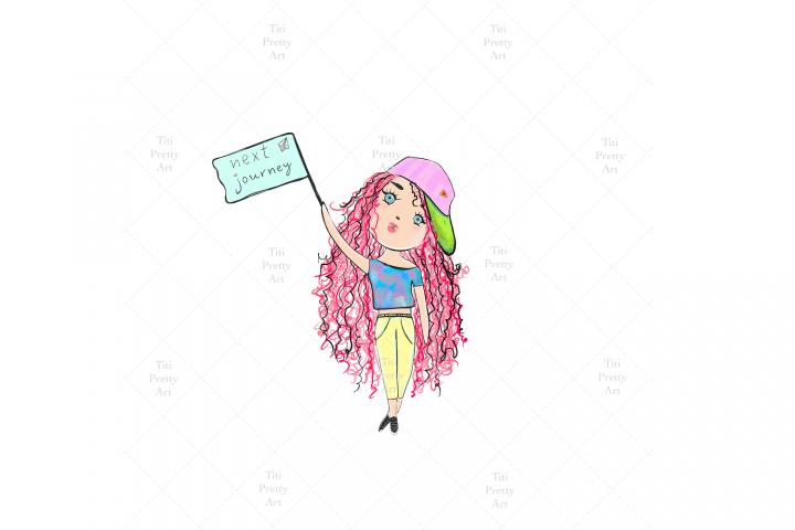 Travel Girl Doodle, Girl Illustration, Travel Girl Graphic