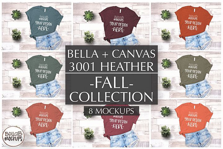 Bella Canvas T Shirt Mockup Bundle, Heather 3001, Autumn