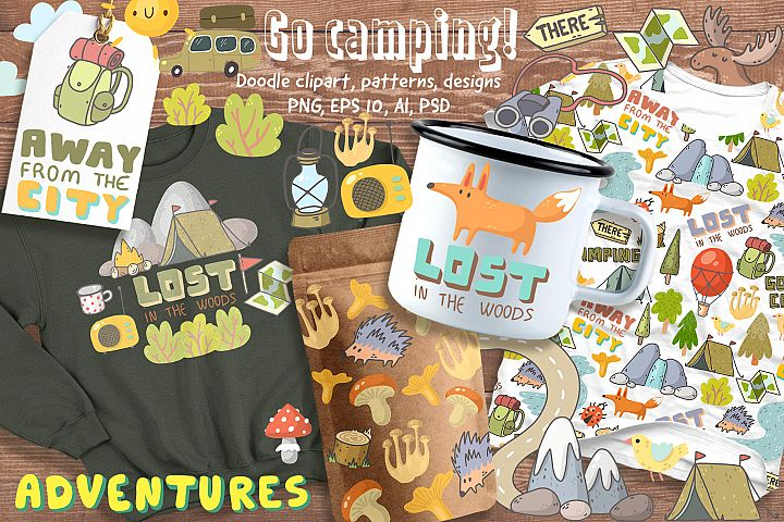 Camping clipart, patterns, designs