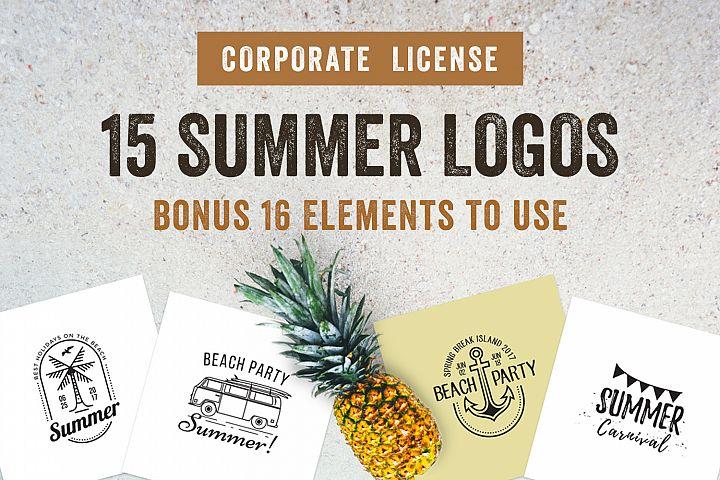 15 Summer Logo Labels & Badges Bundle