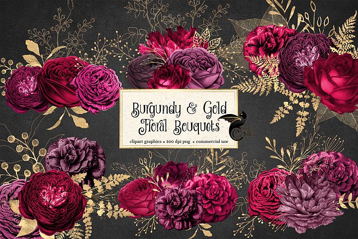 Burgundy and Gold Floral Clipart