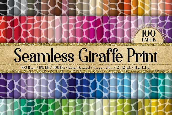 100 Seamless Giraffe Print Animal Zoo Print Digital Papers
