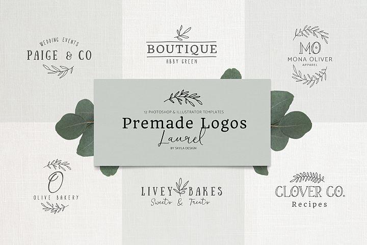 Premade Logo bundle laurel feminine templates