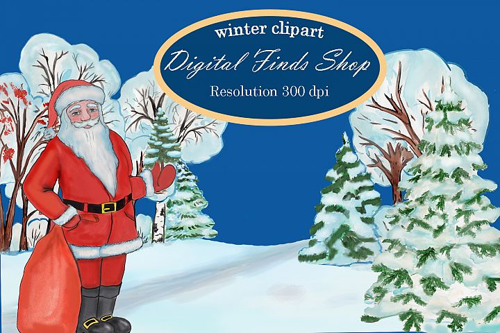Christmas clipart, winter forest trees with Santa Claus