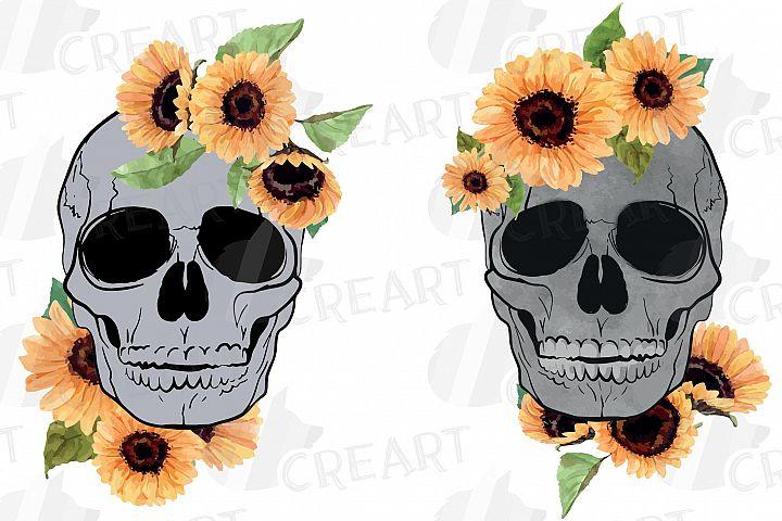 Sunflower skull watercolor decoration clip art. Floral skull