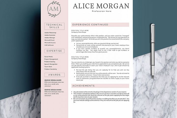 Professional Creative Resume Template - Alice Morgan - Free Design of The Week Design1