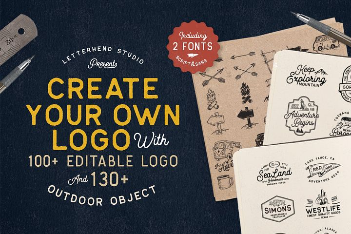 OUTDOOR Logo Creator Bonus 2 Fonts