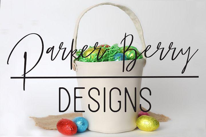 Blank Canvas Bag Easter Basket with Eggs Mock up