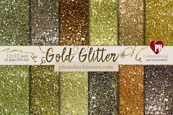 Gold Glitter Digital Paper Pack
