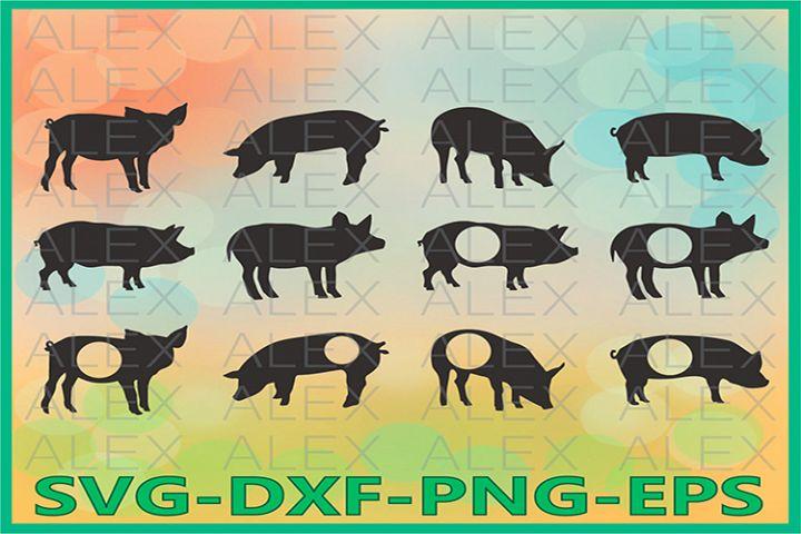 Pig svg, Pig Monogram SVG, Pig Silhouette, Farm Svg