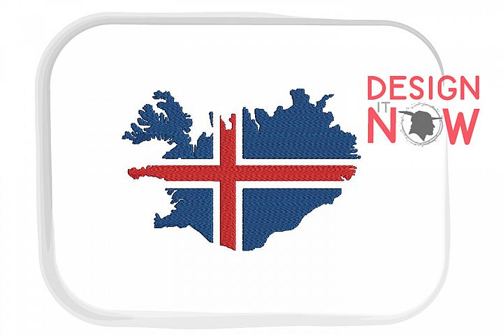 Flag Of Iceland Embroidery Design, Map Embroidery Pattern