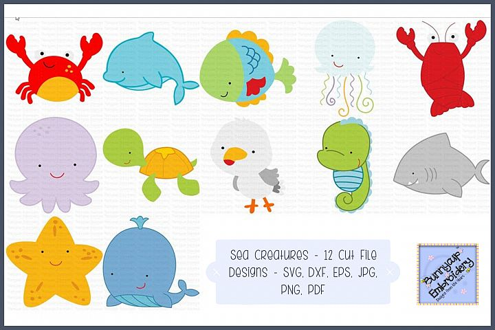 Sea Creatures - SVG, Cut Files, Clipart, Printables