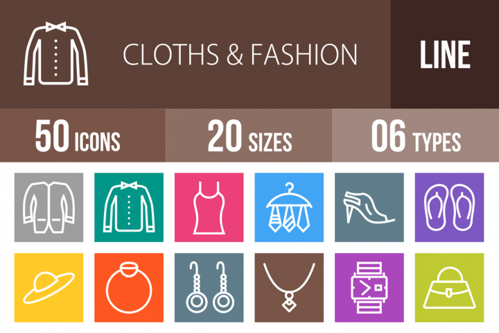 50 Clothes & Fashion Line Multicolor B/G Icons