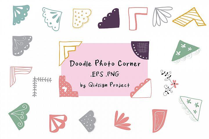 22 Doodle Photo Corner Clipart .EPS .PNG