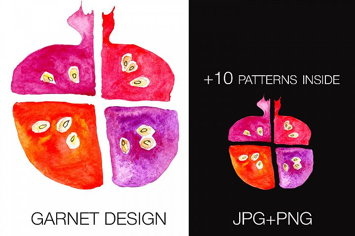 Garnet watercolor seamless pattern in 10 colors