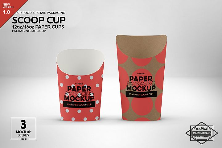 Paper Scoop Cups 2 sizes Packaging Mockup