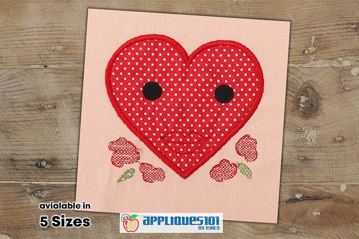 Heart Flowers Machine Embroidery Applique Design - Hearts