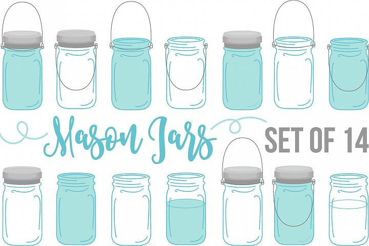 Set of 14 Mason Jar Graphic Illustrations