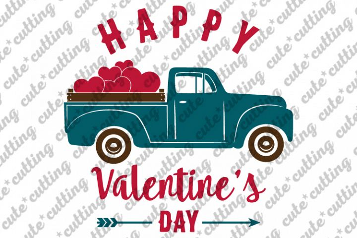 Valentines truck svg, truck with hearts svg, dxf, pdf, jpeg