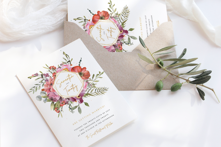 Floral & Gold Wedding Invite Template