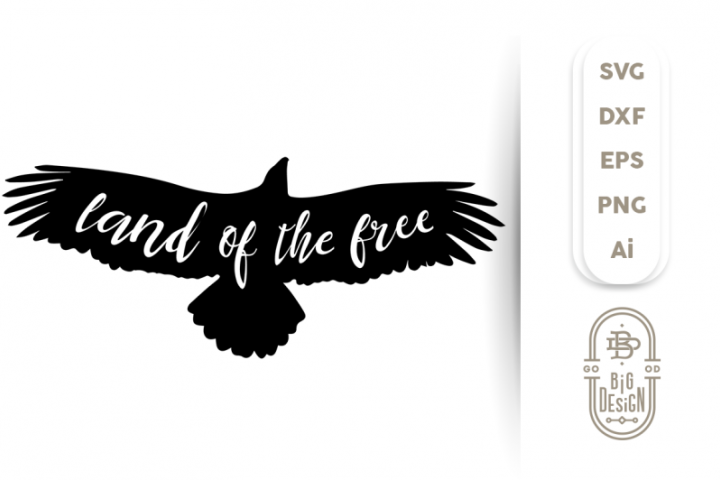 4th of july SVG - Land of the Free & Bald Eagle Silhouette