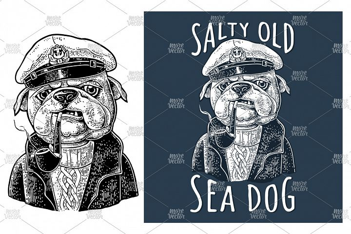 Sea dog smoking a pipe and dressed in captain hat. Engraving