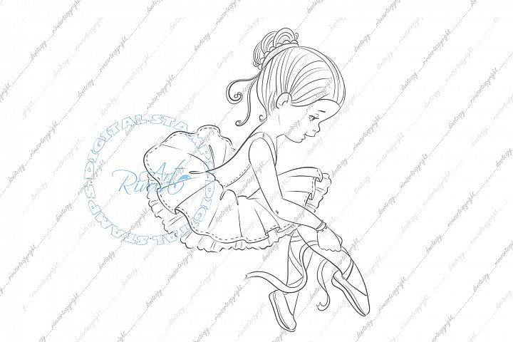 Ballet Digital Stamp. Cute ballerina coloring page Download.