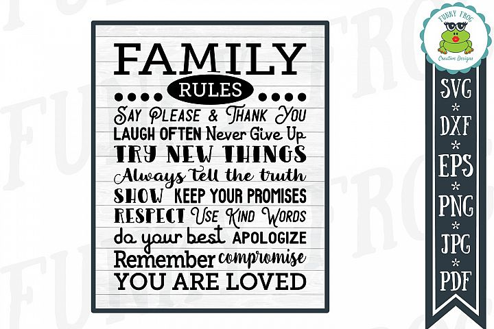 Family Rules Subway Art SVG Cut File for Crafters