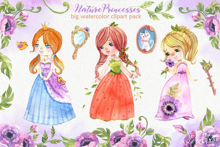 Watercolor Princess clipart. Cute fairytale, queen, fairy.
