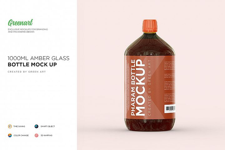 1000ml Amber Glass Bottle Mockup