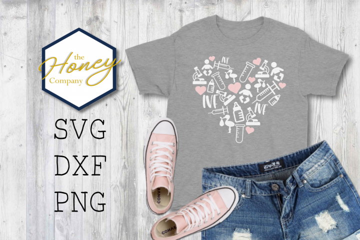 IVF Heart SVG PNG DXF Cutting File Infertility Awareness