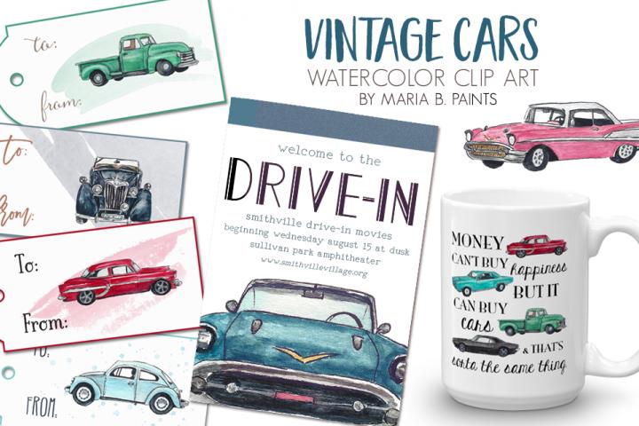 Watercolor Clip Art - Vintage Cars