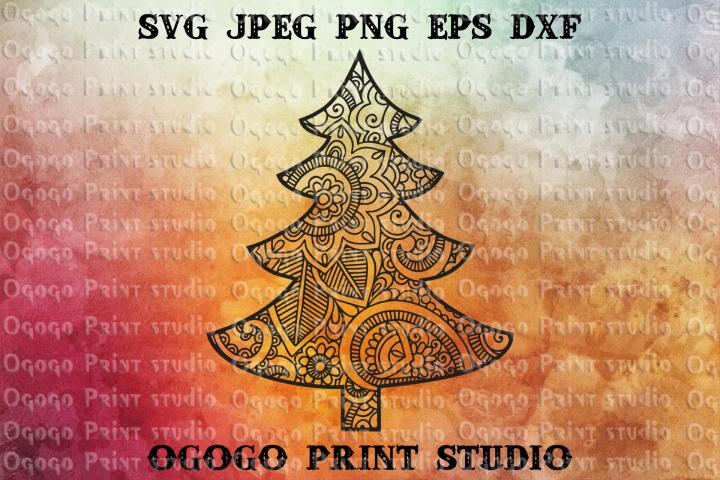Mandala style Christmas Tree Svg, Christmas SVG, Zentangle