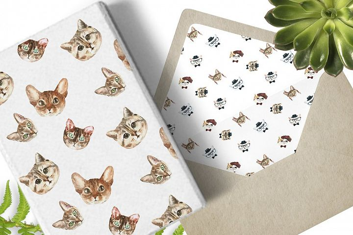 Cat watercolor patterns  - Free Design of The Week Design 11