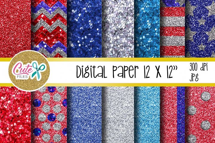 Patriotic glitter digital paper for scrapbooking