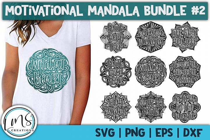 Motivational Mandala Bundle #2 SVG, PNG, EPS, DXF