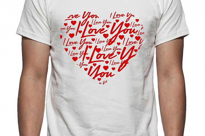 I Love You Heart Tee Shirt Design