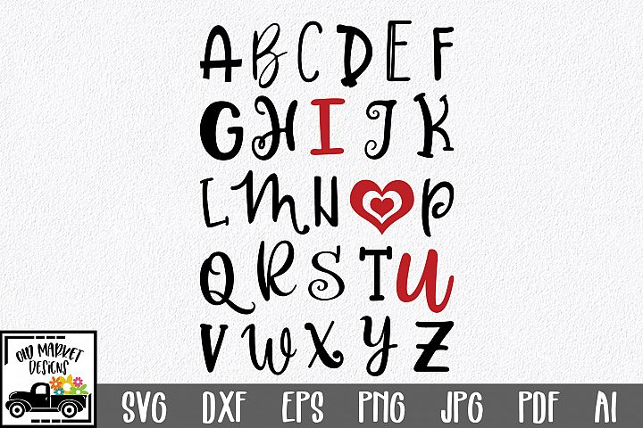 ABC I Love You SVG Cut File - SVG EPS DXF PNG PDF AI