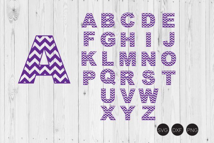 Chevron Alphabet A-Z SVG, DXF, PNG Cut Files