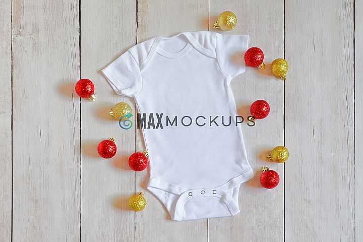 Baby bodysuit Mockup, Christmas ornaments red gold, flatlay